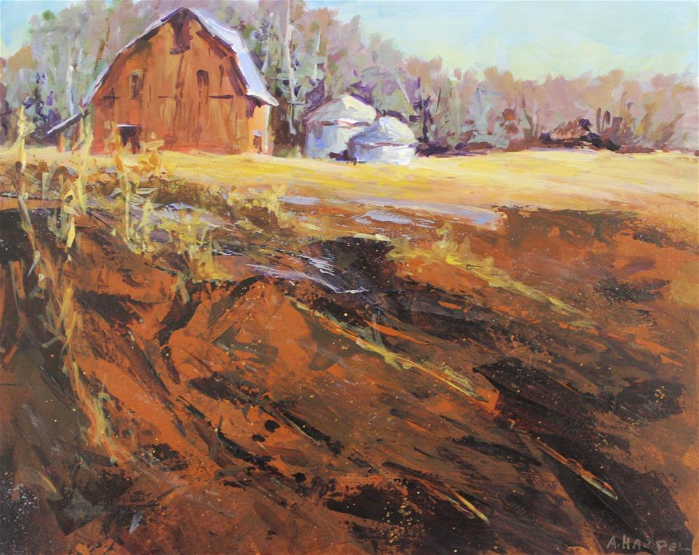 """Original acrylic panel barn landscape impressionism"" original fine art by Alice Harpel"