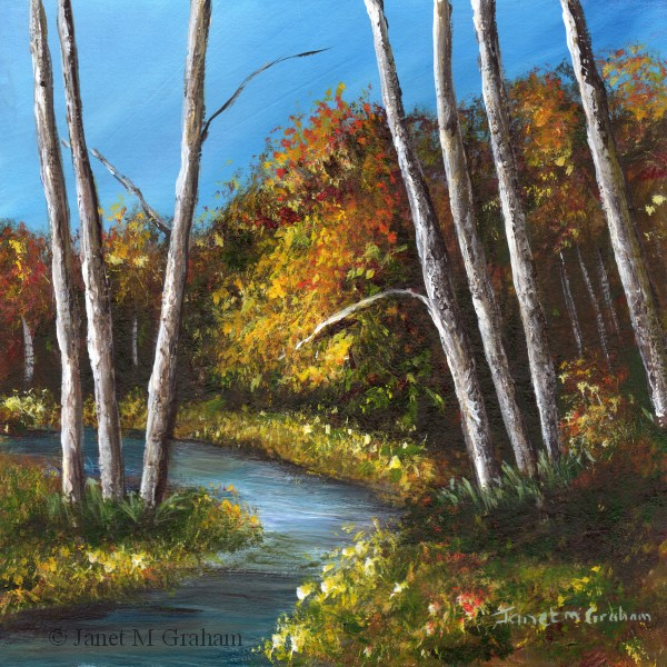 """Autumn River No 5"" original fine art by Janet Graham"