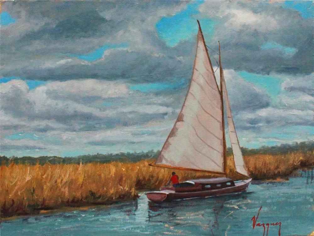 """By the river"" original fine art by Marco Vazquez"
