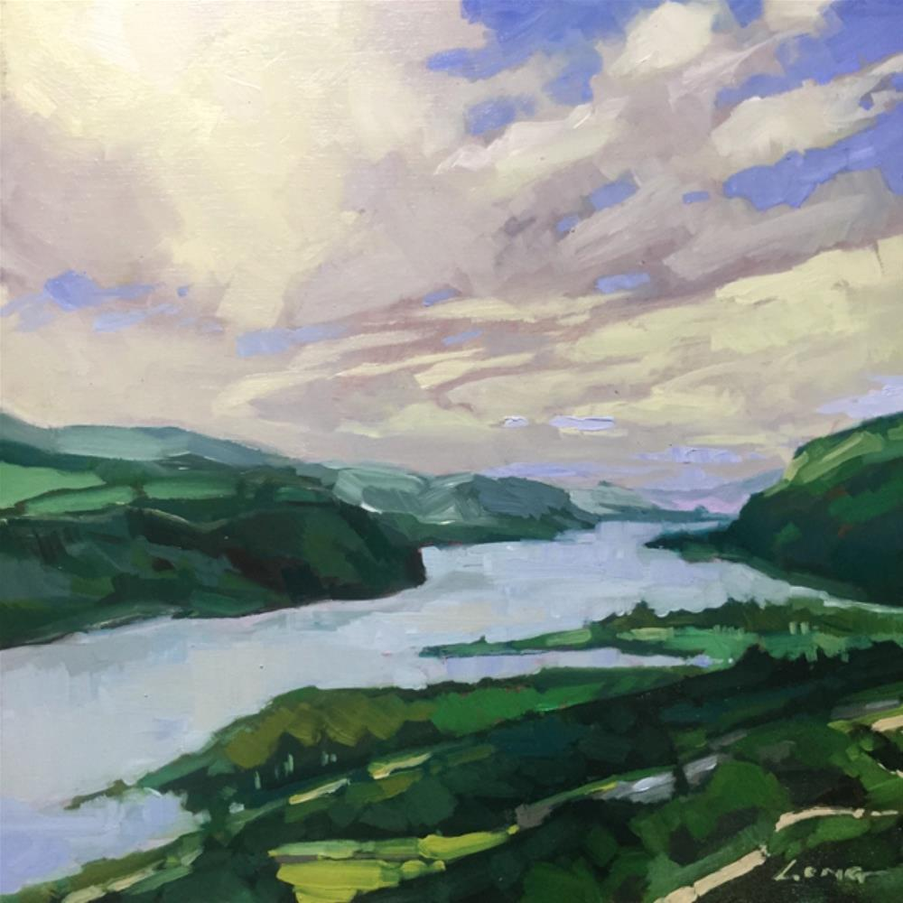 """Columbia River Gorge, Portland"" original fine art by Chris Long"