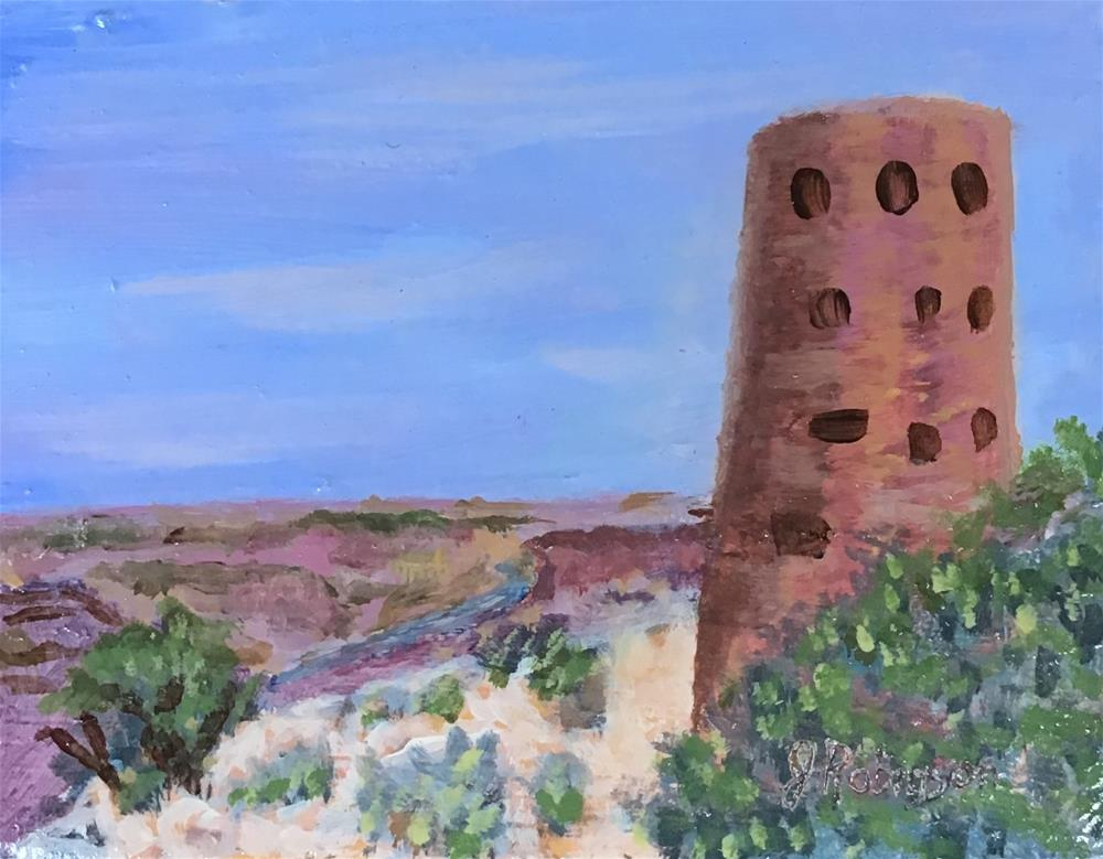 """""""Mary Colter's Desert View Watchtower, Grand Canyon"""" original fine art by Judy Robinson"""