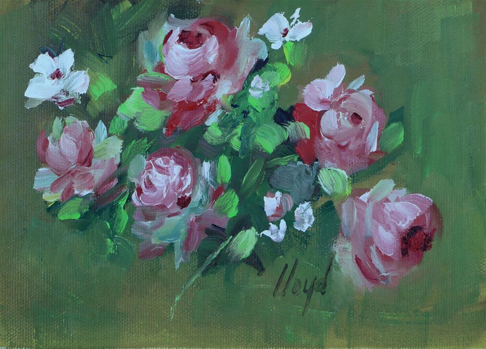 """Bush Roses Chicago Botanic Gardens"" original fine art by Diane Lloyd"