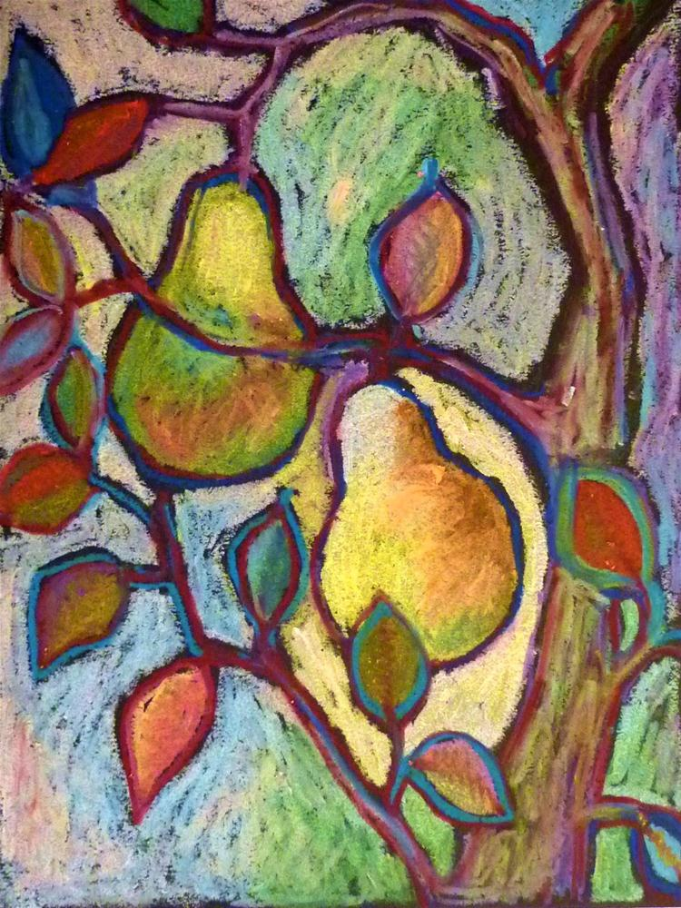 """""""Pears at Play"""" original fine art by Ande Hall"""
