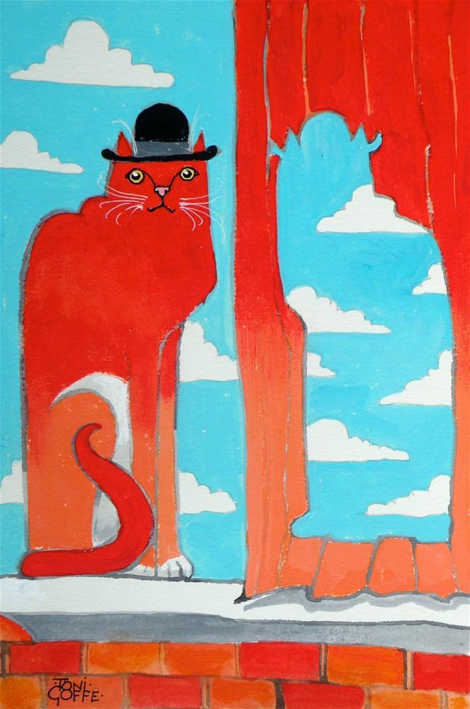 """Rene Magrittie's Cat"" original fine art by Toni Goffe"