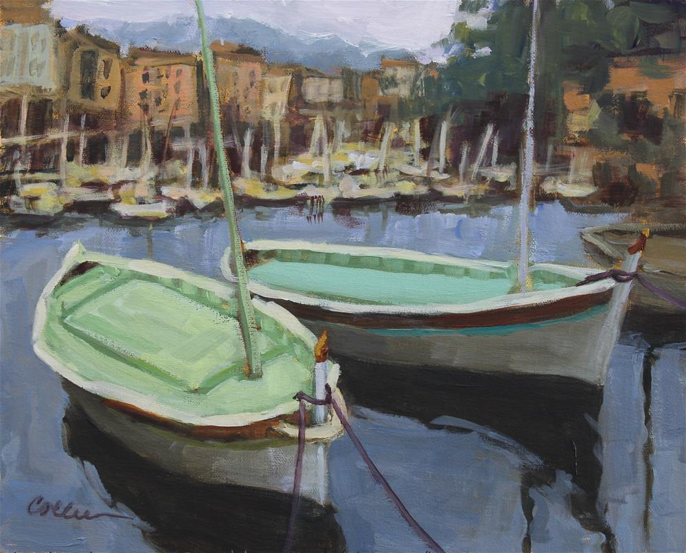"""""""Cassis Fishing Boats"""" original fine art by Colleen Parker"""
