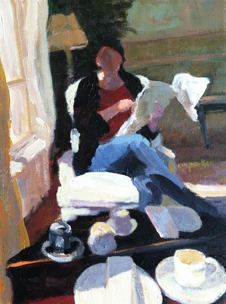 """Woman with Room Service"" original fine art by Christine Parker"