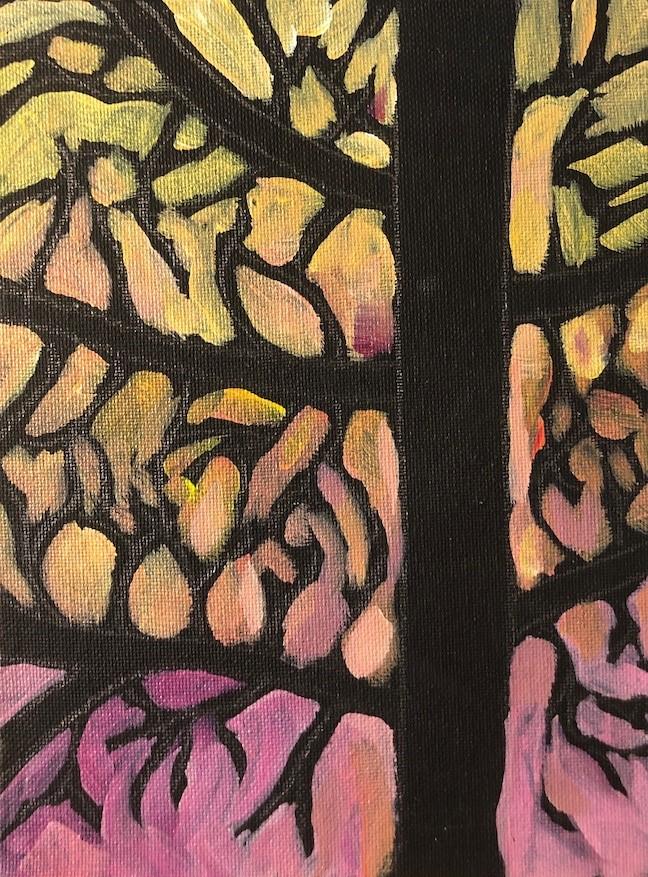 """""""Golden Web Tree"""" original fine art by Kat Corrigan"""