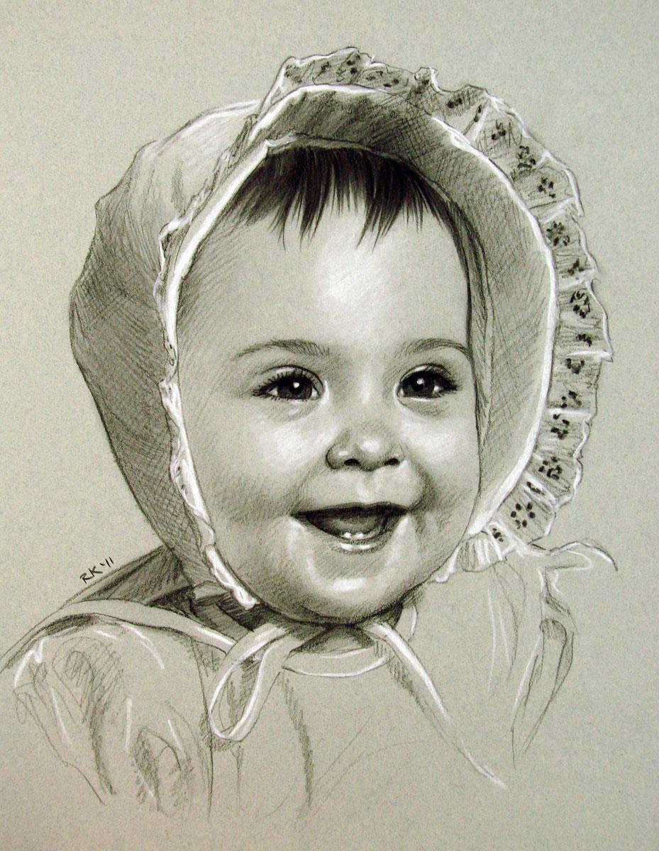 """""""A Portrait Commission - Baby Bonnet"""" original fine art by Rita Kirkman"""