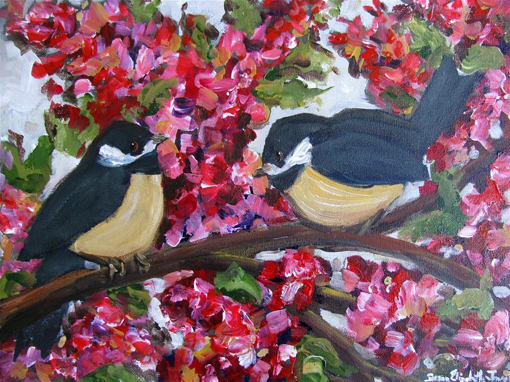 """Playing in Crepe Myrtle"" original fine art by Susan Elizabeth Jones"