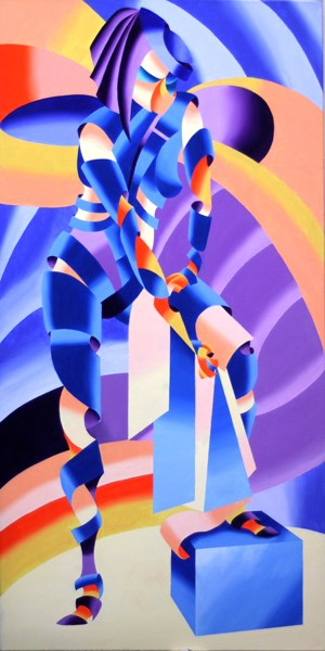 """""""Mark Webster - Shandra 323 - Abstract Geometric Figurative Oil Painting"""" original fine art by Mark Webster"""