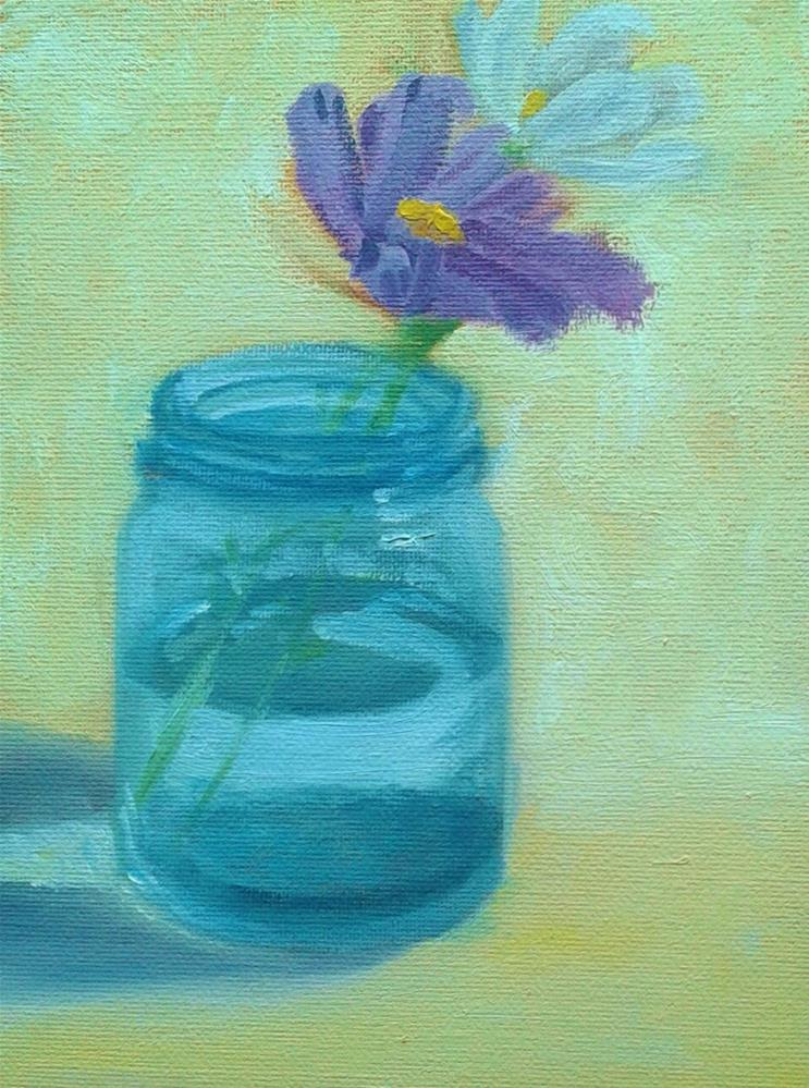 """""""Cosmos and Mason jar"""" original fine art by Staar Caswell"""