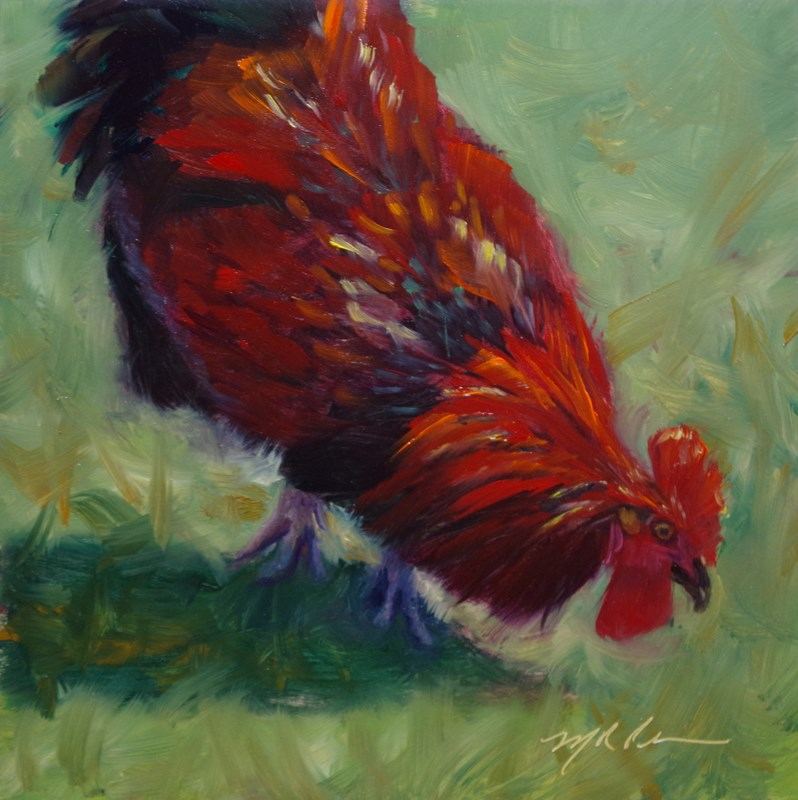 """Grubbin' - Framed"" original fine art by Marilyn R. Place"