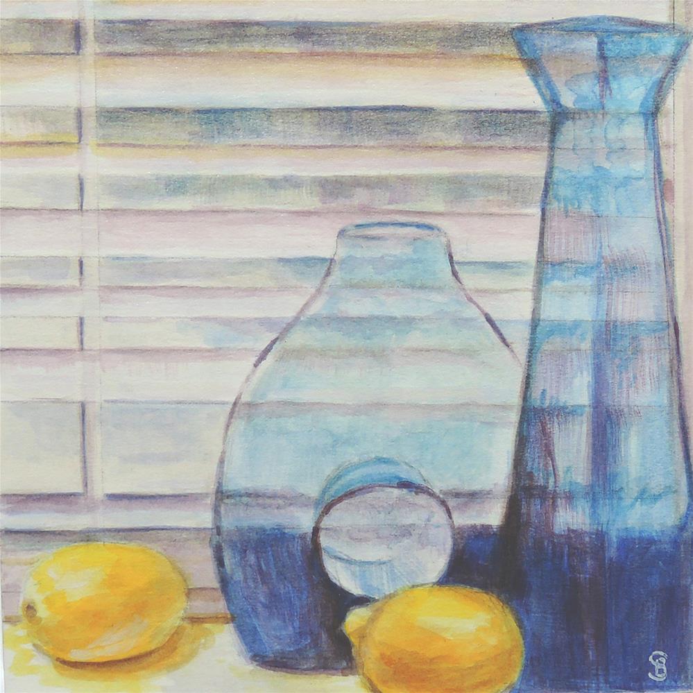 """Lemons With Cobalt Blueware In Front of Blinds"" original fine art by Belinda Scheber"