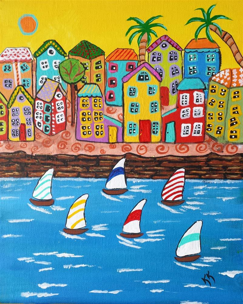 """Sailboat Race"" original fine art by Karleen Kareem"