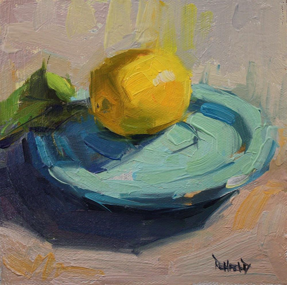 """Lemon and Turquoise"" original fine art by Cathleen Rehfeld"