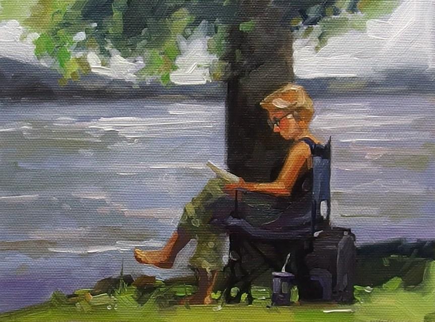 """No 844 Afternoon Read"" original fine art by Robin J Mitchell"