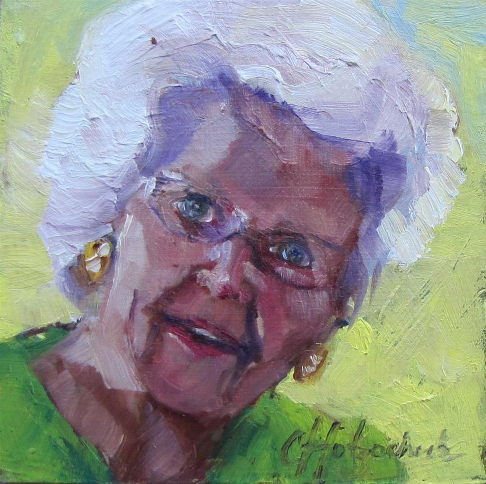 """Mom/Grandma/Greatgrandma  4x4 oil sold"" original fine art by Christine Holzschuh"