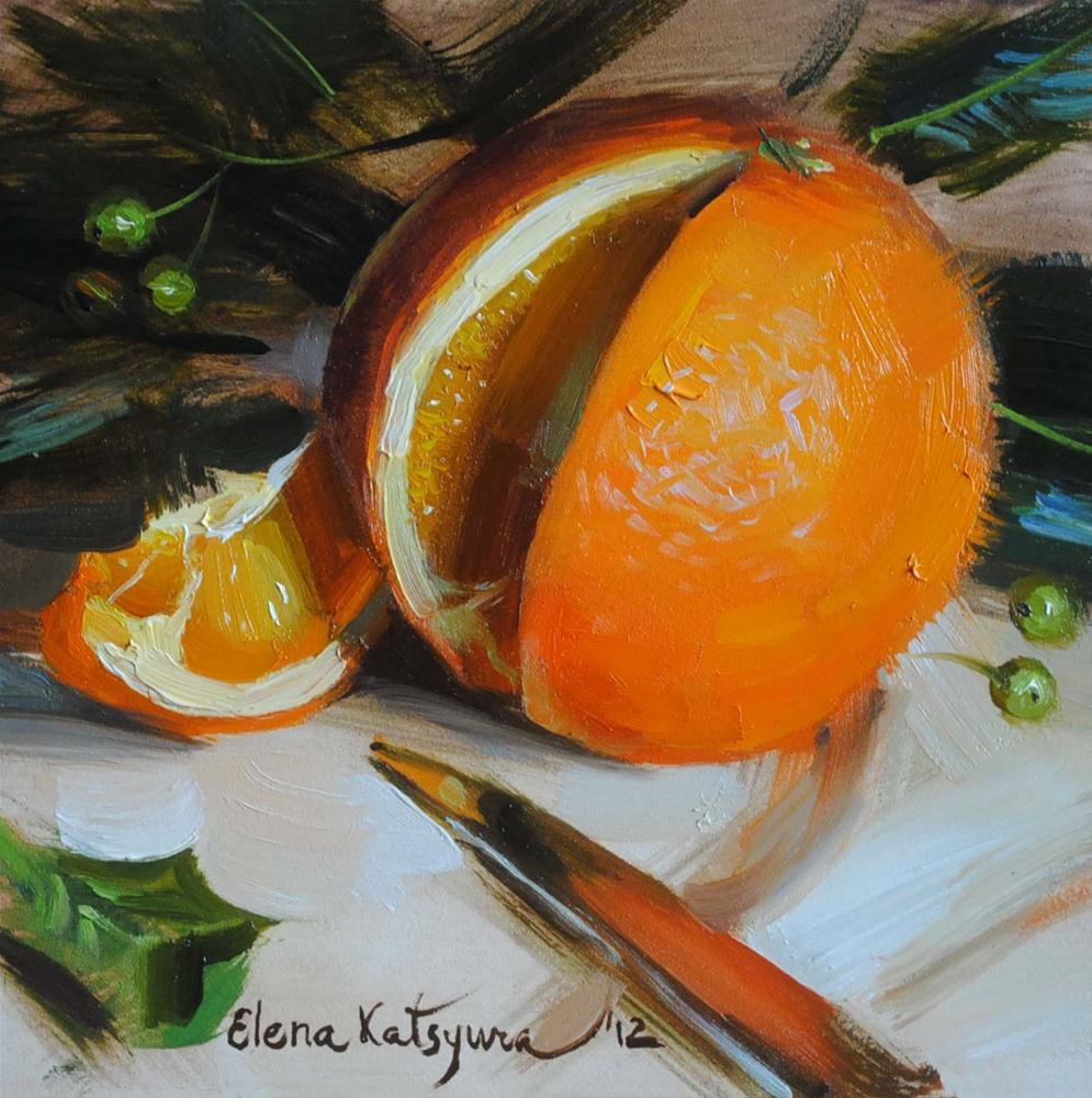 """Orange"" original fine art by Elena Katsyura"