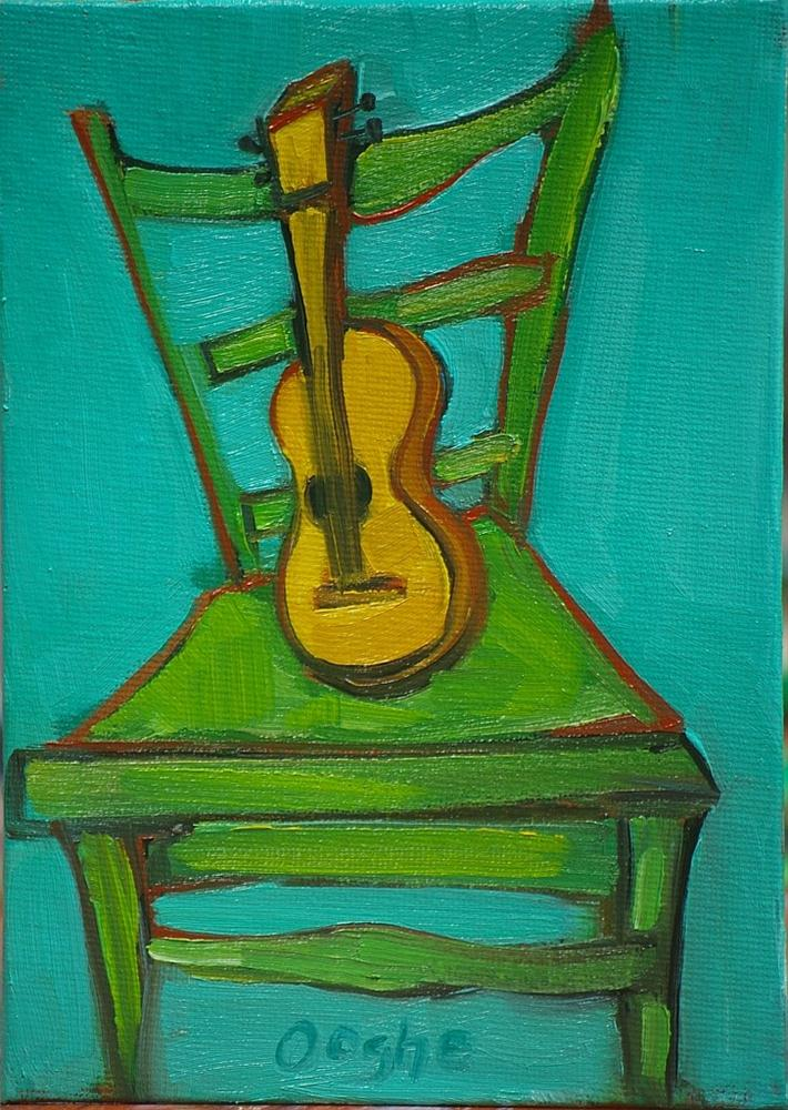 """Ukulele on Green Chair"" original fine art by Angela Ooghe"