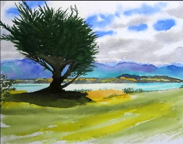 """""""Lake Ferry, Southern Wairarapa, NZ"""" original fine art by Tim Barraud"""
