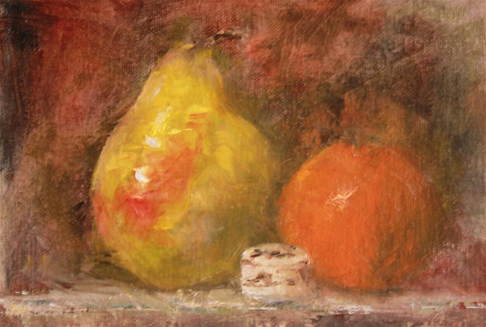 """Pear and Orange"" original fine art by Karen Solorzano"