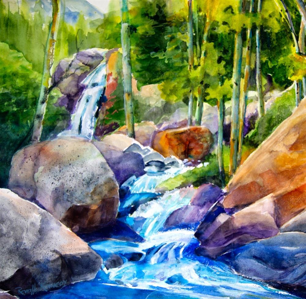 """Refreshing, Sparkling Waterfall"" original fine art by Reveille Kennedy"
