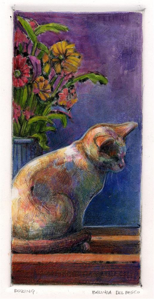 """Monotype: Dozing (& #linklove)"" original fine art by Belinda Del Pesco"