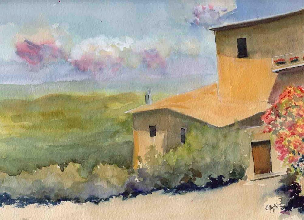 """""""House on a Hill"""" original fine art by Bunny Griffeth"""
