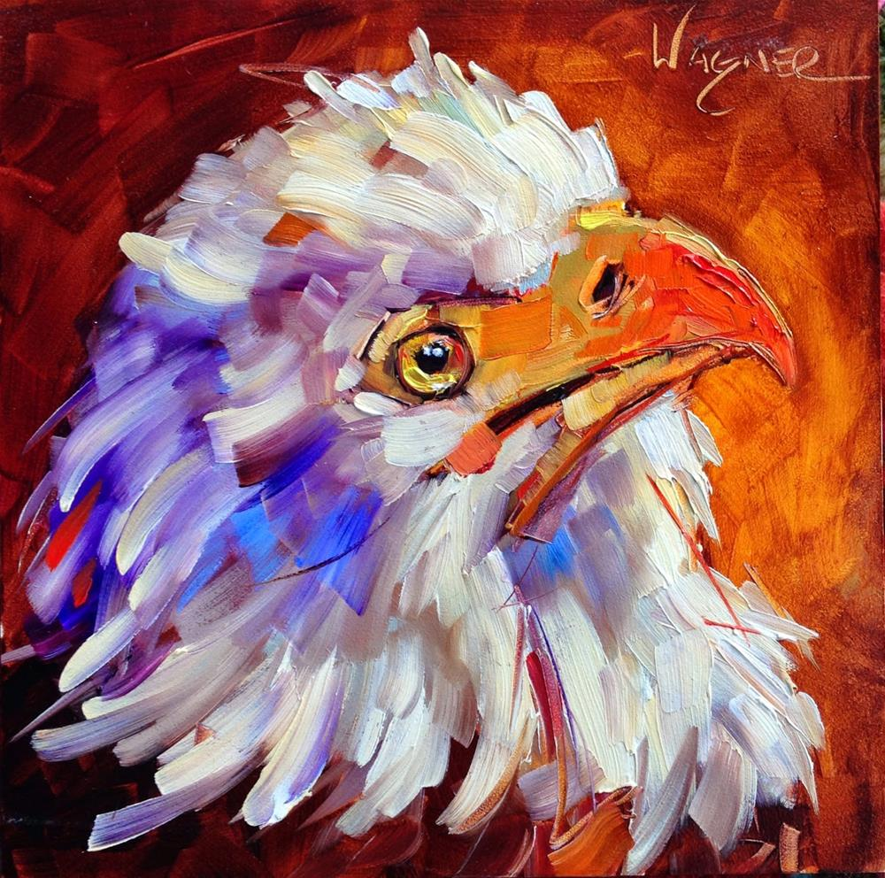 """""""CONTEMPORARY BALD EAGLE PAINTING in OILS by OLGA WAGNER"""" original fine art by Olga Wagner"""