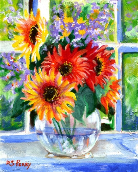 """Sunflowers in Vase"" original fine art by R. S. Perry"
