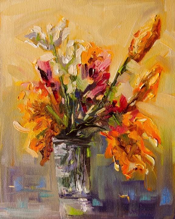 """ARTOUTWEST FLORAL Garden Still Life art oil painting study original by Diane Whitehead"" original fine art by Diane Whitehead"