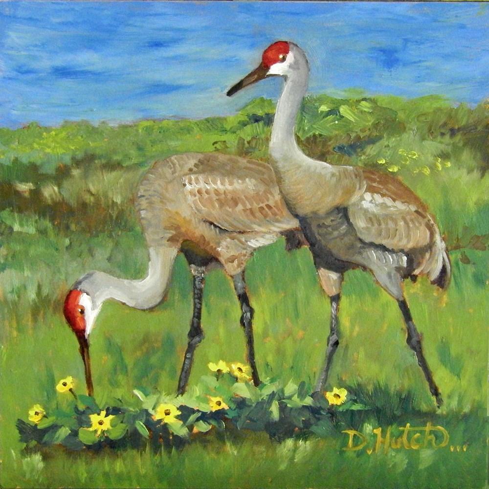 """""""Sandhill Cranes"""" original fine art by Diane Hutchinson"""