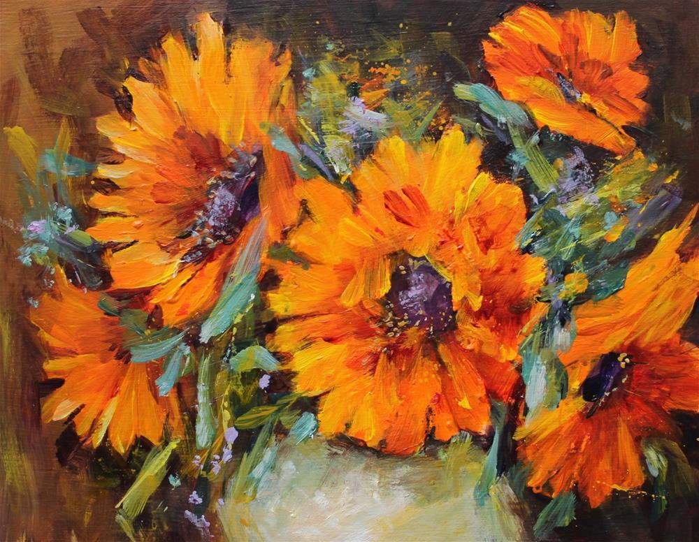 """Original acrylic sunflower floral flower still life painting"" original fine art by Alice Harpel"