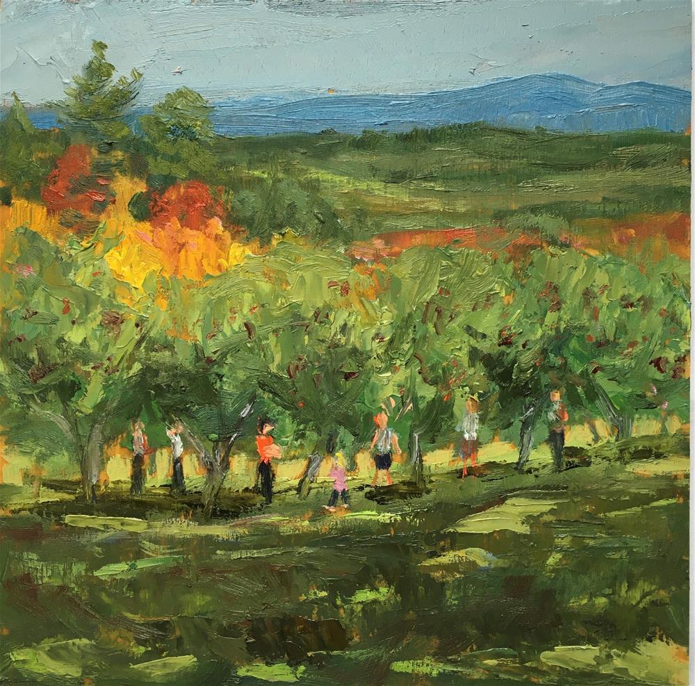 """Apple Picking"" original fine art by Shari Goddard Shambaugh"
