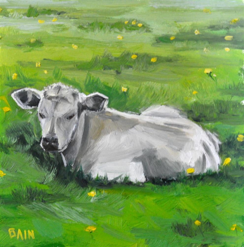 """""""Cow no. 4"""" original fine art by Peter Bain"""