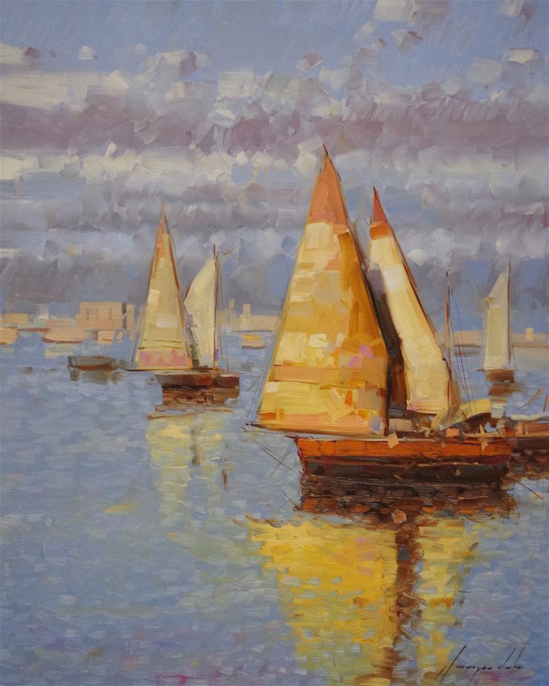 """Sail Boats, Original oil Painting, Handmade art"" original fine art by V Y"