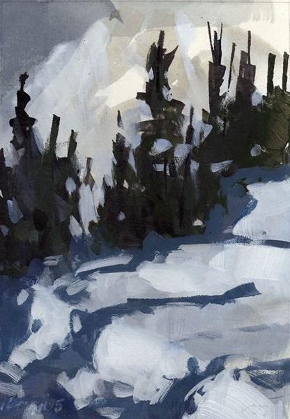 """Trees in Snow - Quick Study"" original fine art by David Lloyd"