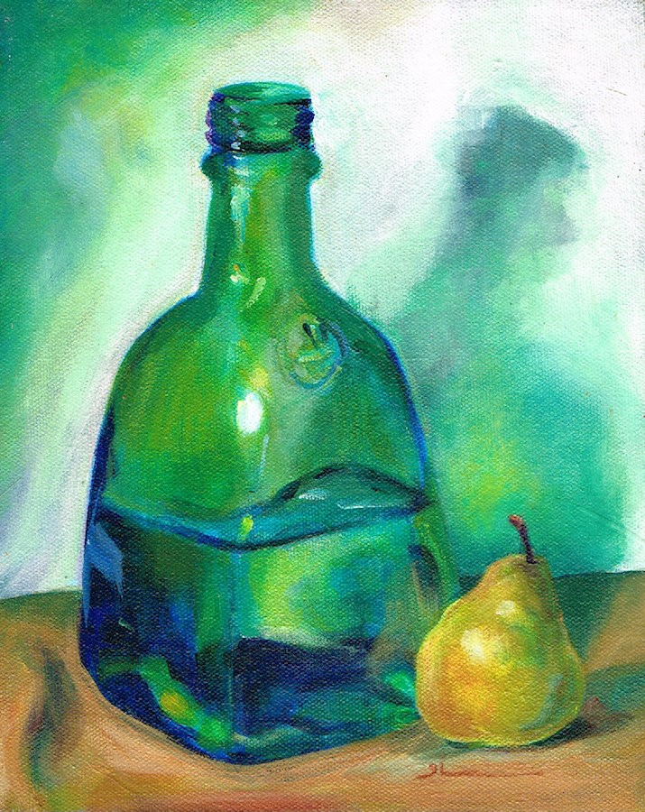 """Bottle and Pear and Shadow"" original fine art by Theresa Taylor Bayer"