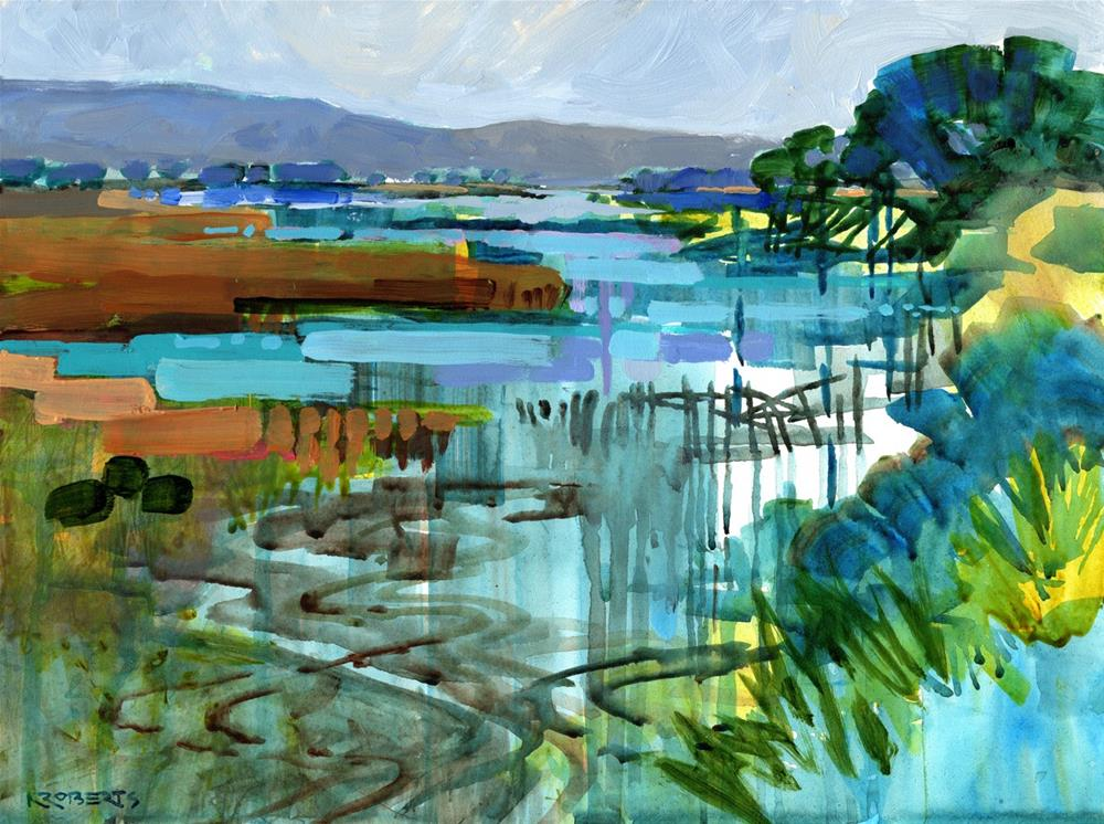 """Bay Point Shoreline"" original fine art by Nancy Roberts"