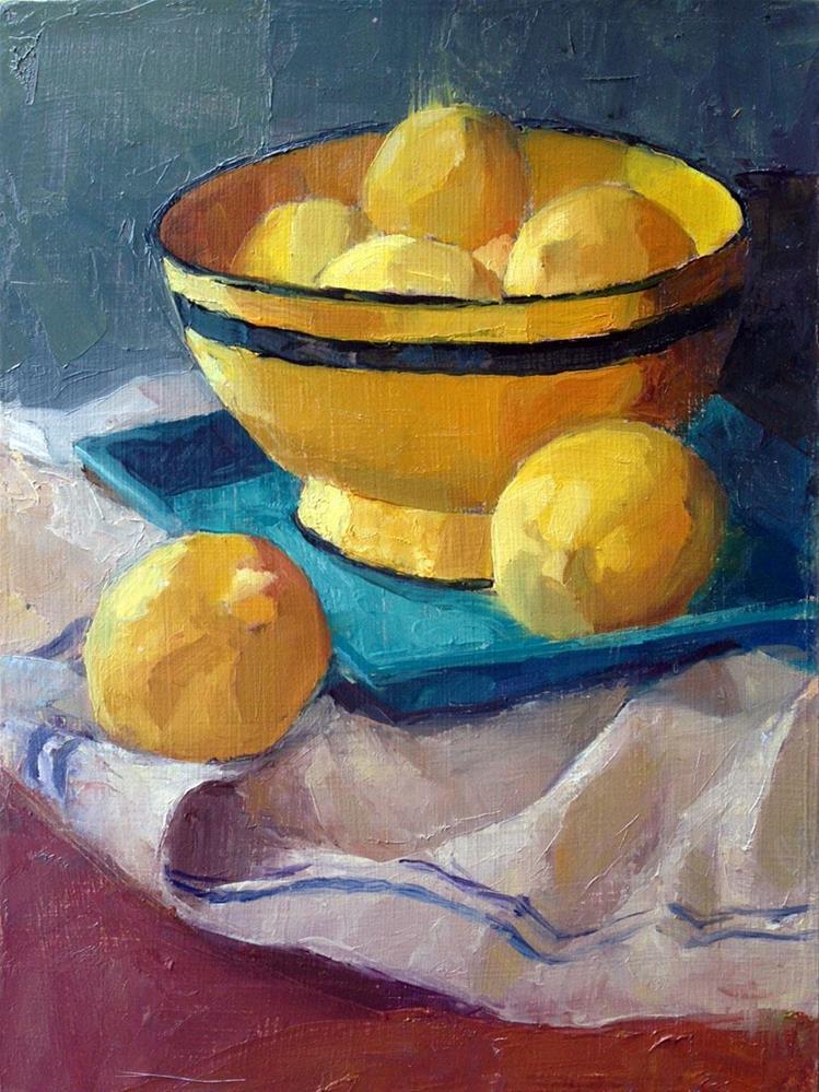 """Lemon in Yellow Bowl"" original fine art by Myriam Kin-Yee"