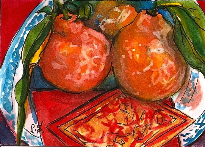 """""""ACEO Lucky Tangerines for Chinese Lunar New Year Watercolor Penny StewArt"""" original fine art by Penny Lee StewArt"""