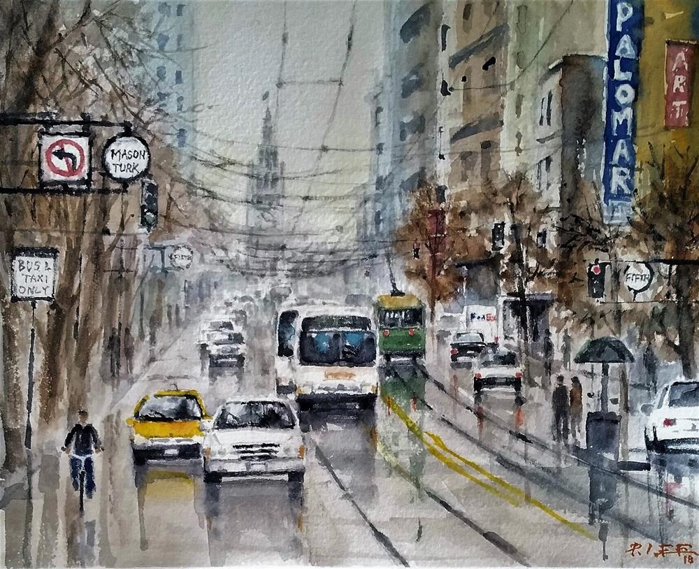 """SF after rain"" original fine art by Peter Lee"