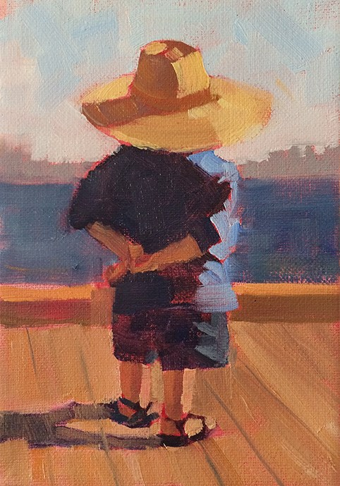 """""""Checking out the View"""" original fine art by Deborah Newman"""