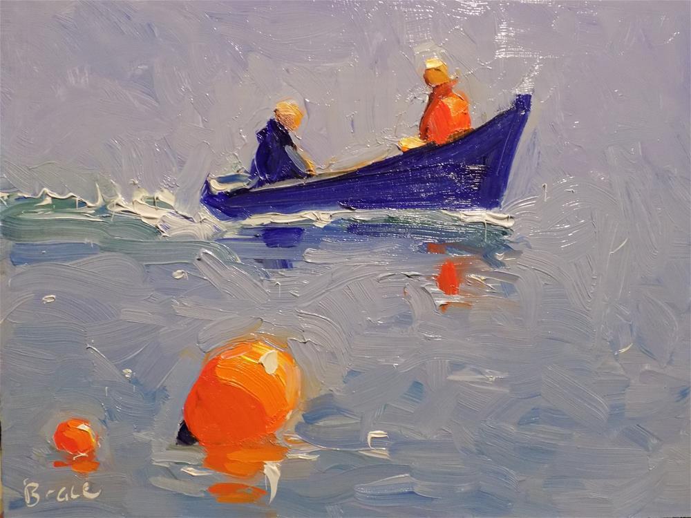 """""""In Hull Blue Dingy"""" original fine art by Rita Brace"""