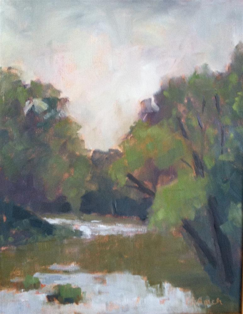 """""""Foggy Morning on the Cowpasture River"""" original fine art by Katharine March"""