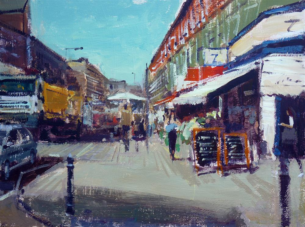 """North End Road Market"" original fine art by Adebanji Alade"
