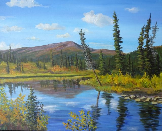 """Lapie Lake, Yukon Sunny Autumn Day"" original fine art by Jackie Irvine"