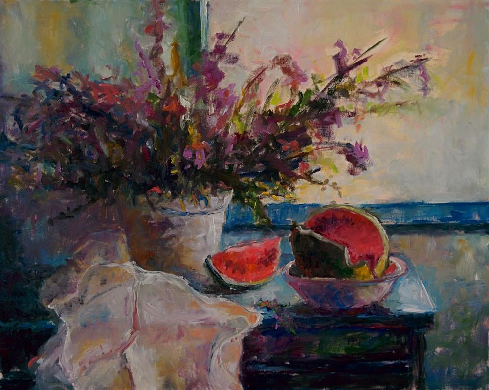 """Watermelon on a Blue Table"" original fine art by pepa sand"