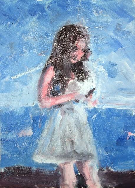 """Pantone Girl"" original fine art by J. Farnsworth"