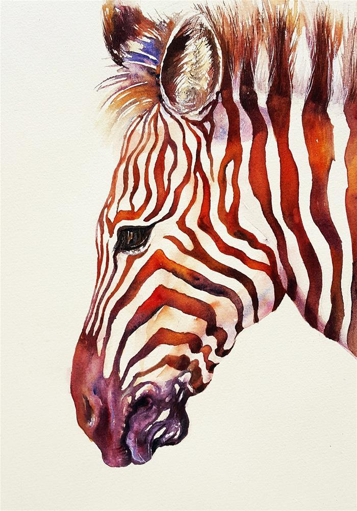 """""""Copper Zebra"""" original fine art by Arti Chauhan"""